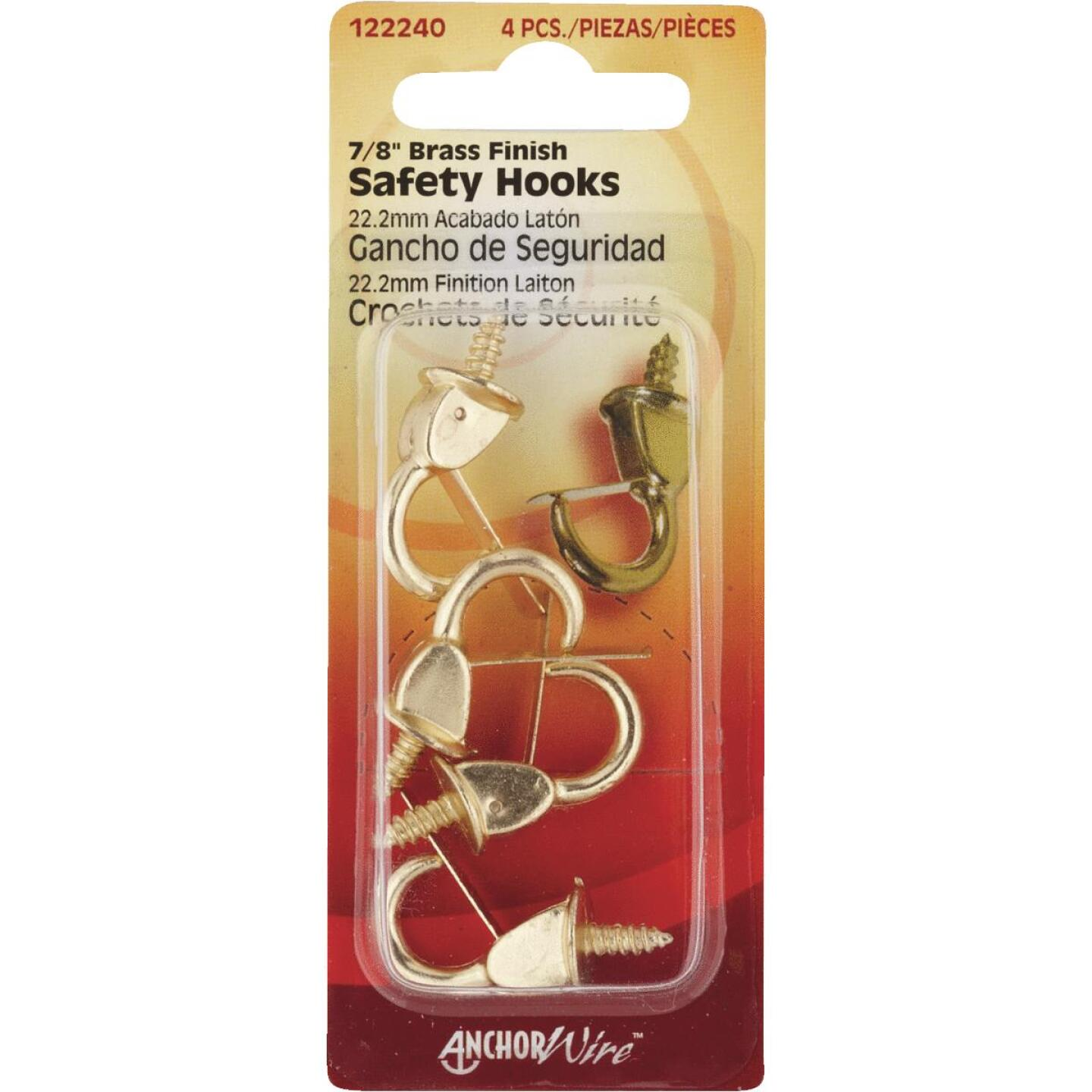 Hillman Anchor Wire 7/8 In. Brass Spring Safety Hook Image 1