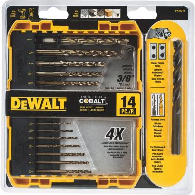 DeWalt 14-Piece Cobalt Drill Bit Set, 1/16 In. thru 3/8 In.