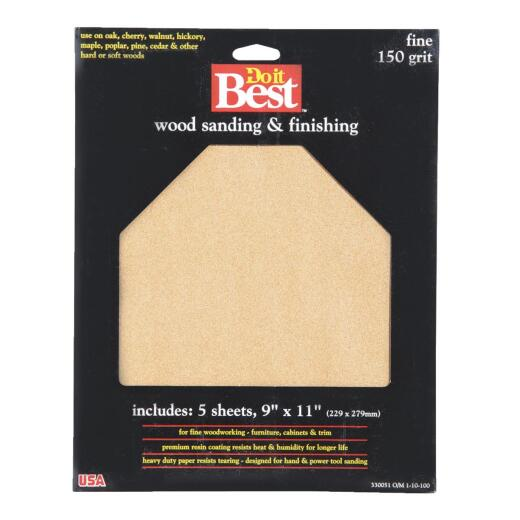 Do it Best Bare Wood 9 In. x 11 In. 150 Grit Fine Sandpaper (5-Pack)