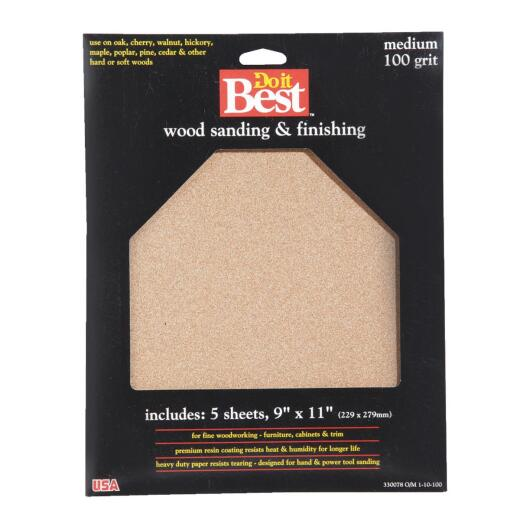 Do it Best Bare Wood 9 In. x 11 In. 100 Grit Medium Sandpaper (5-Pack)