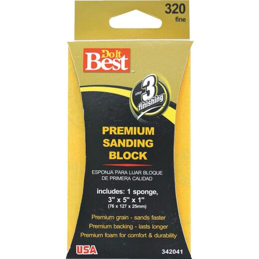 Do it Best Premium 3 In. x 5 In. x 1 In. 320 Grit Fine Sanding Sponge