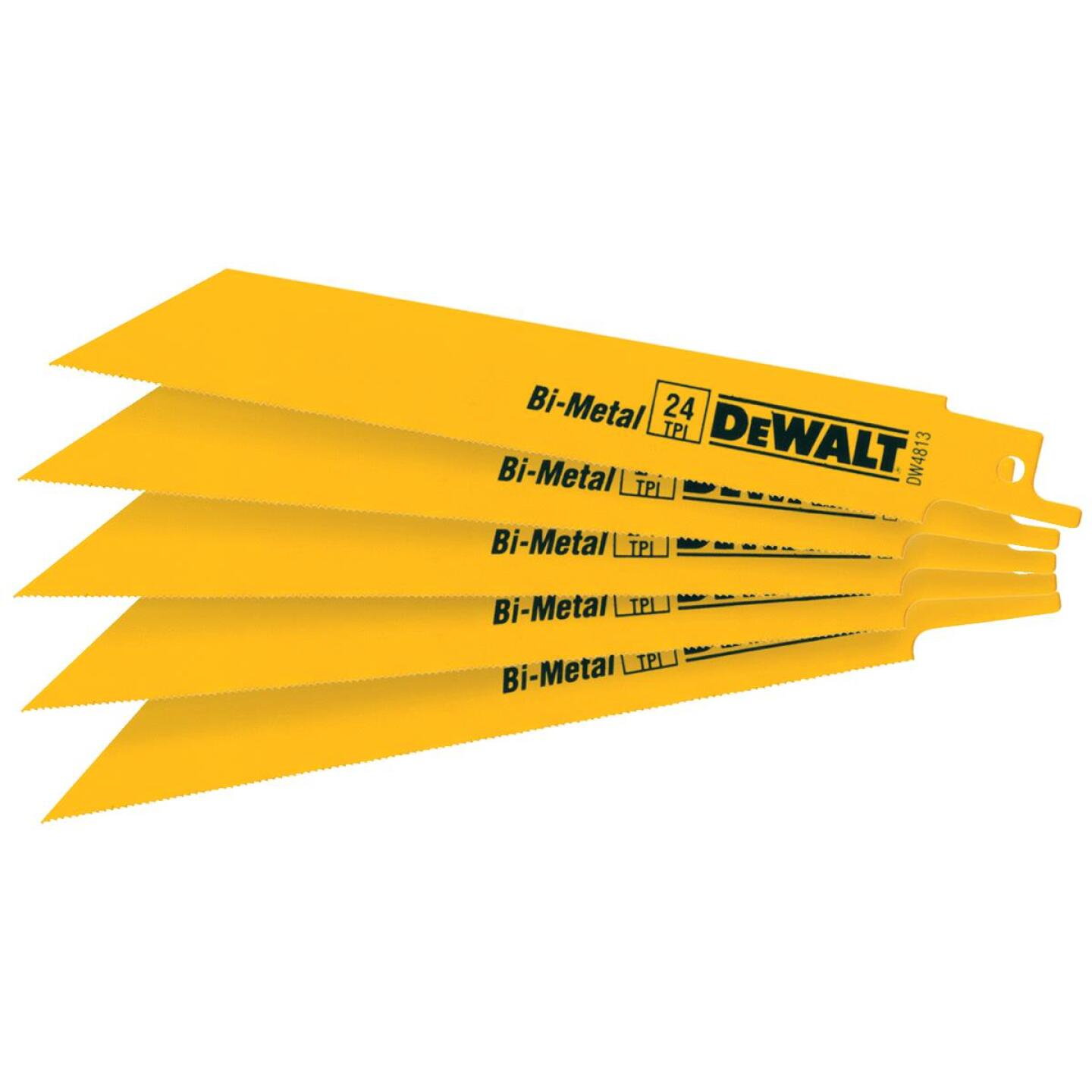 DeWalt 6 In. 24 TPI Thin Metal Reciprocating Saw Blade (5-Pack) Image 1