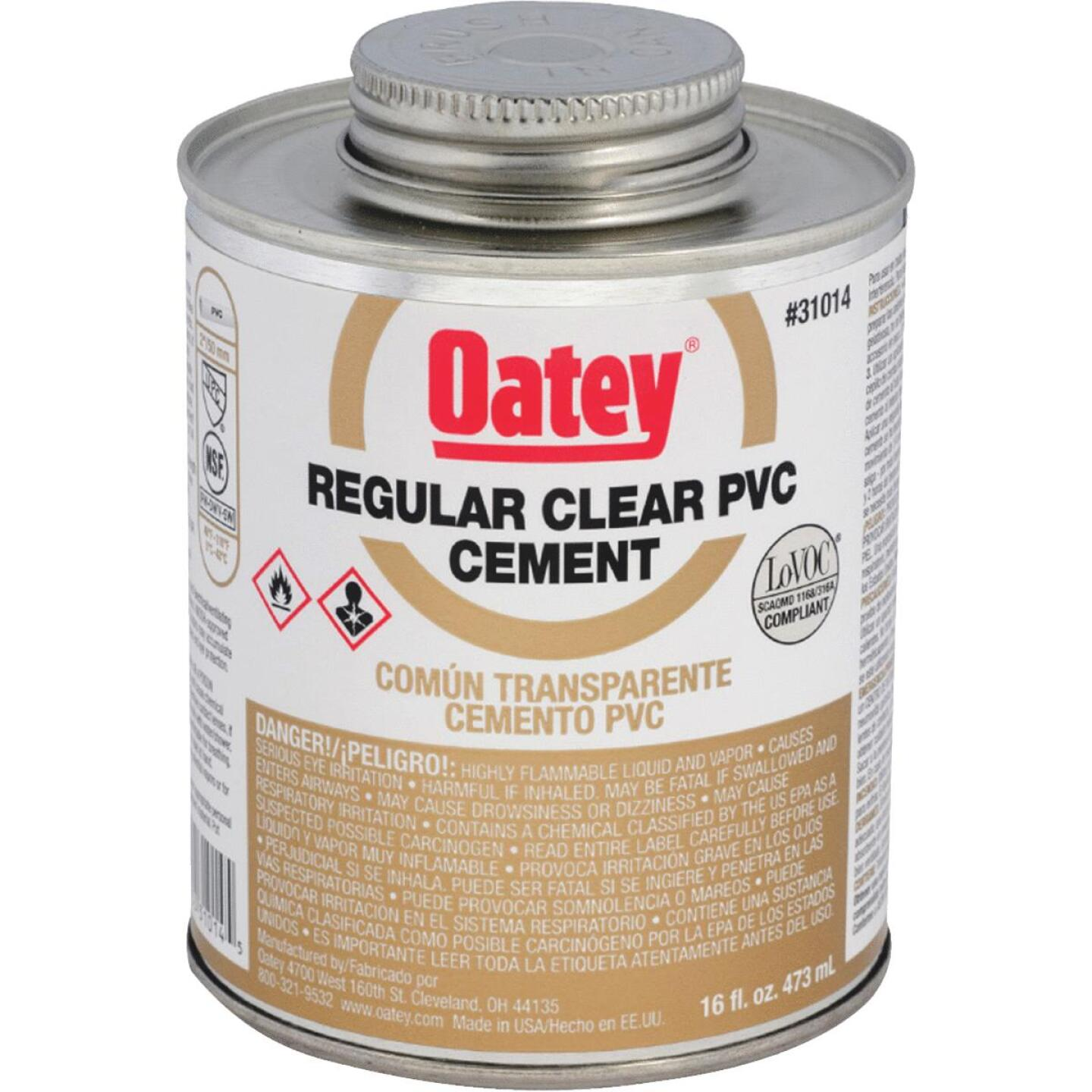 Oatey 16 Oz. Regular Bodied Clear PVC Cement Image 1