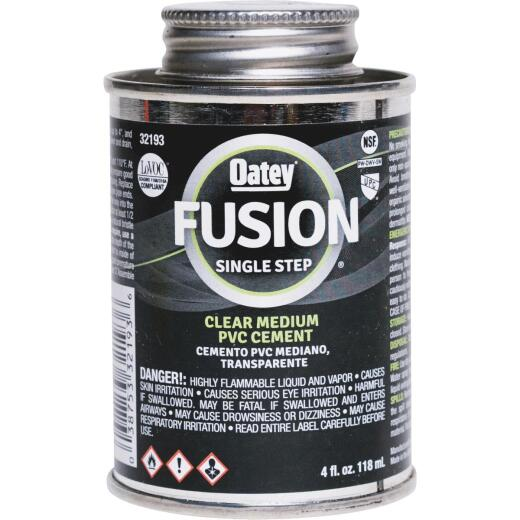 Oatey Fusion Single Step 4 Oz. Medium Bodied Clear Priming PVC Cement