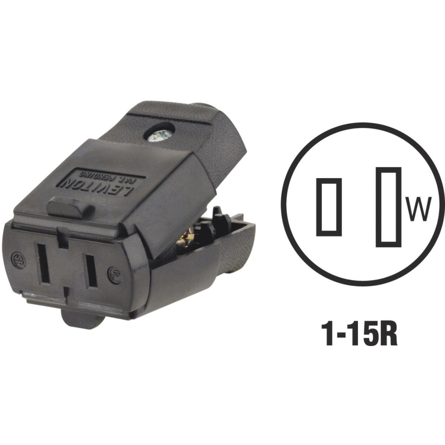 Leviton 15A 125V 2-Wire 2-Pole Hinged Cord Connector, Black Image 1