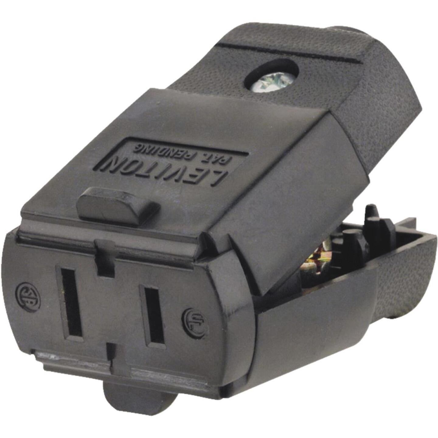 Leviton 15A 125V 2-Wire 2-Pole Hinged Cord Connector, Black Image 2