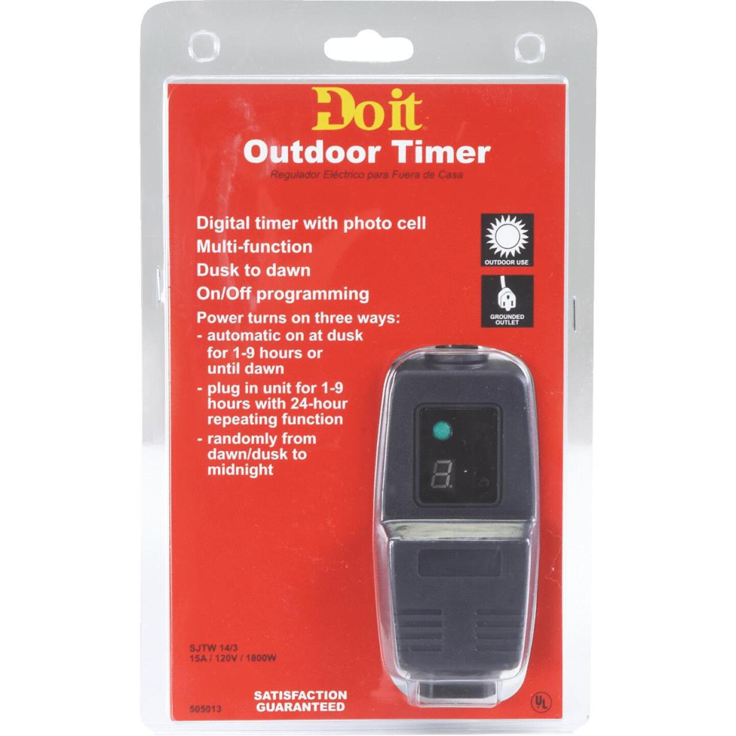 Do it 15A 120V 1800W Black Outdoor Timer Image 2