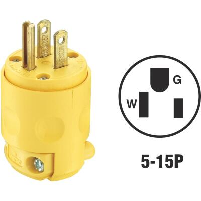 Leviton 15A 125V 3-Wire 2-Pole Residential Grade Cord Plug, Yellow