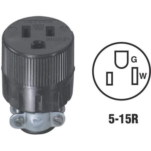 Do it 15A 125V 3-Wire 2-Pole Round Cord Connector