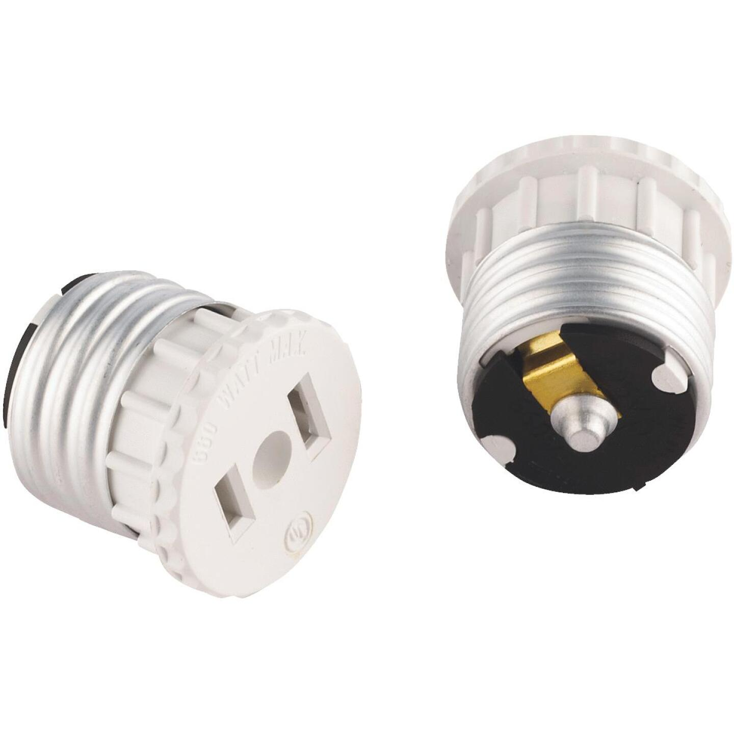 Leviton 600W 120V White Light Socket Adapter (2-Pack) Image 1