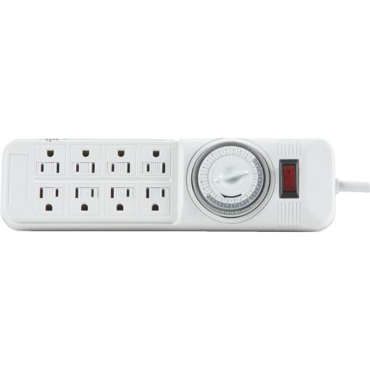 Do it 8-Outlet White Power Strip with Timer & 4 Ft. Cord