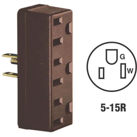 Leviton Brown 15A 3-Outlet Tap
