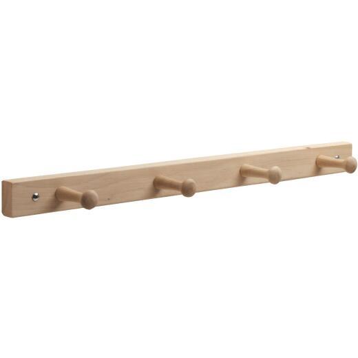 Interdesign Natural Wood 4-Peg Rack