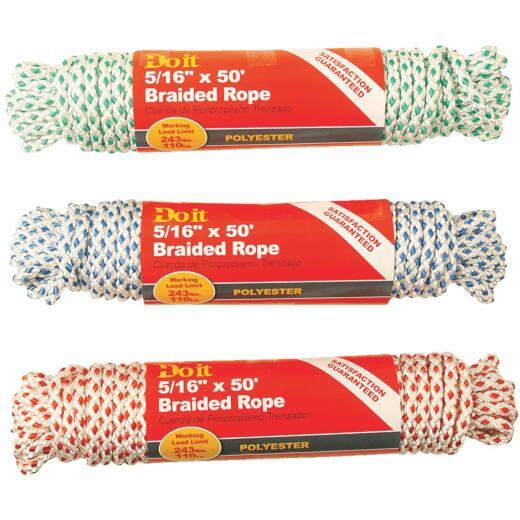 Do it 5/16 In. x 50 Ft. Assorted Colors Diamond Braided Polyester Packaged Rope
