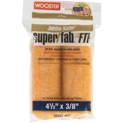 Wooster Jumbo-Koter Super/Fab FTP 4-1/2 In. x 3/8 In. Mini Knit Fabric Roller Cover (2-Pack)