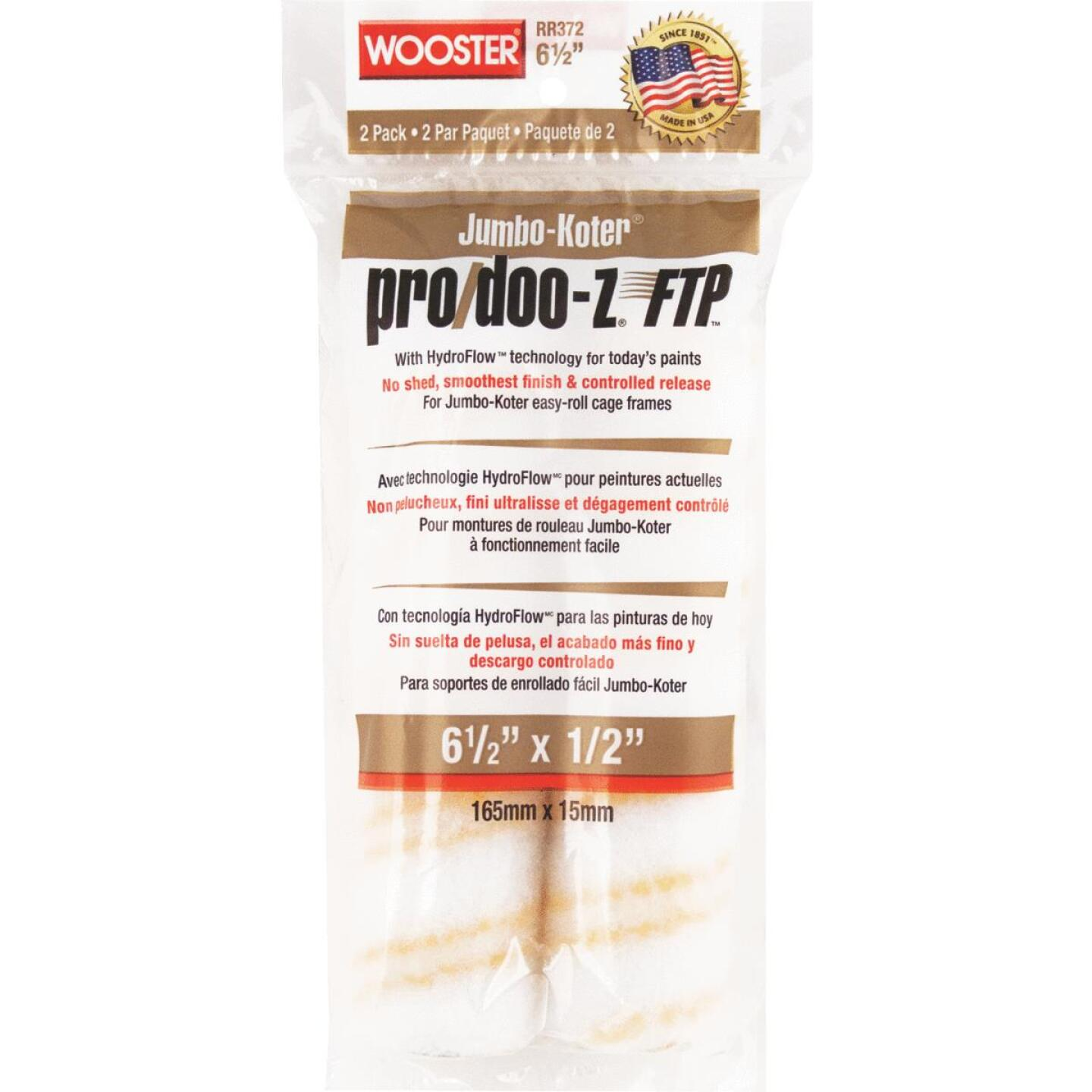 Wooster Jumbo-Koter Pro/Doo-Z FTP 6-1/2 In. x 1/2 In. Mini Woven Fabric Roller Cover (2 Pack) Image 1