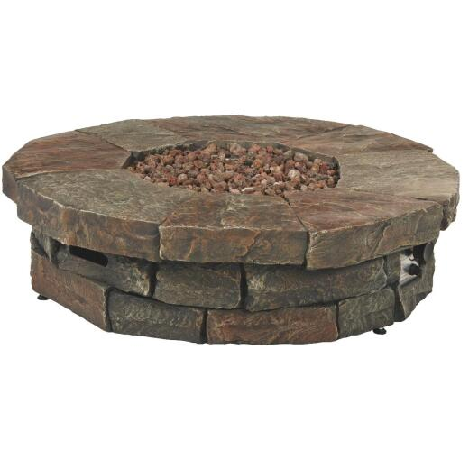 Clearwater 42 In. Faux Stone Round Gas Fire Pit