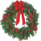 Gerson 30 In. Pine Artificial Wreath with Bow Image 1